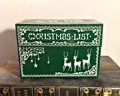 Vintage Christmas List Metal Box/File, Organize Addresses, Index Box, Retro,Reindeer Decor