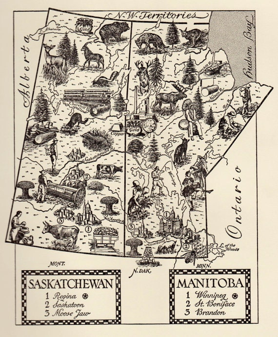 Manitoba Map Print Saskatchewan Map Canada Map