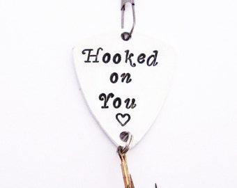 Personalized fishing lure, custom spinner, Hooked on You, Hand Stamped gift, Fishing Accessories, Spinner Bait, fisherman gift, fish, father