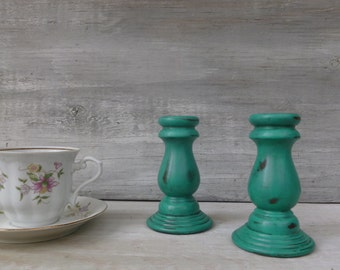 Distressed Candlesticks Painted Emerald