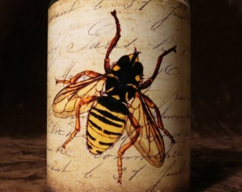 Bee with old script Candle holder/ luminary