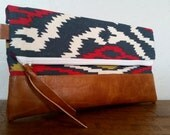Folding Everyday Clutch-Multicolor Aztec Print