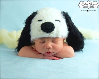 Soft and fuzzy  Snoopy Dog Crochet hat , Puppy  Hat, photography prop,0 to 3 months, crochet hat