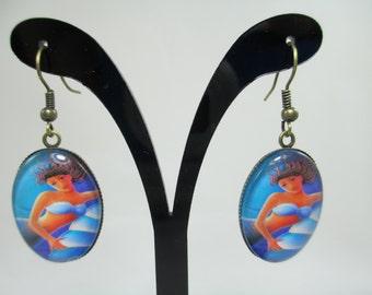 Vintage Mermaid Earrings & Necklace Set