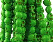 10 Skull Beads 8mm x 10mm Dyed Turquoise Stone  - Day of the Dead Rainbow Colors - Ever Green
