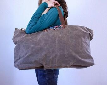 Waxed Canvas Weekend Getaway Bag Walnut Brown