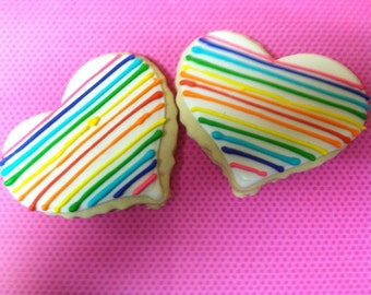 Rainbow Heart Cookies (2Dozen)