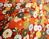 Red and gold kiku japanese cotton  fabric fat quarter, quilt decoration tenugui japanese flowers cotton fabric,