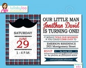 Little Man Mustache Birthday Party Invitations - Set of 12 Printed Invitations - Lullaby Loo Invitation No. 443