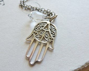 Hamsa Hand Necklace / Sterling Silver / Crystal / Protection Luck Blessings / SimplyJoli