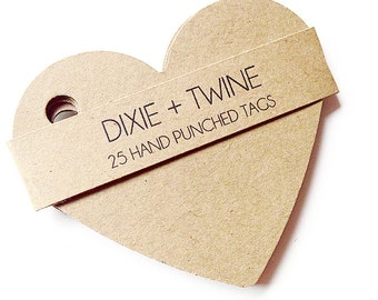 25 Kraft Paper Heart Gift Tags