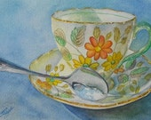 Original Painting Miss Daisy Teacup Art GIFT