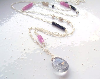 Sterling Silver, Pink Sapphire, Blue Sapphire, Black Rutilated Quartz & Natural Zircon Long Layering Necklace