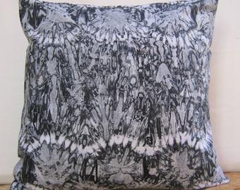 "Throw Pillow Cover 17"" x 17"", 18"" x 18"" Batik Print, Tie dye, Black and white Shibori Pillow, cushion cover"