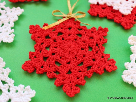 CROCHET PATTERN Snowflake Easy Pattern Christmas By