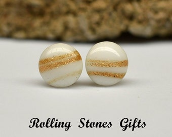 9mm Gold Glitter infused Vintage White Glass Stud Earrings-White Gold Vintage Glass Studs-Gold White Vintage Earrings