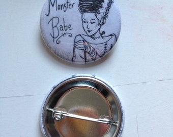 Monster Babe Pinback Button