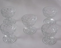 5 Waterford Waffle Crystal Footed Sherbets Dessert Dishes by Hocking