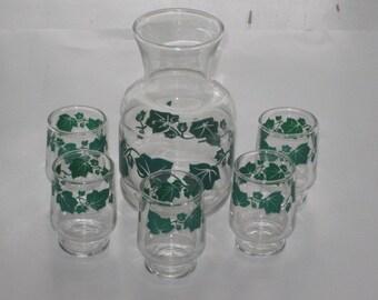 Vintage Green Ivy Leaf Carafe Bottle and 5 Small Juice Glasses