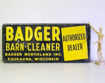 metal sign, old tin sign, advertising sign, Badger Barn-Cleaner, 20x9