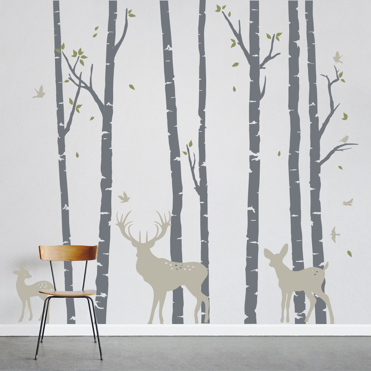 Birch tree wallpaper bedroom