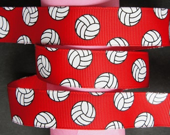 "10Yd Volleyball 7/8"" Red Grosgrain Ribbon"