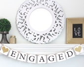 Engaged Banner – Wedding decorations/garland – Bridal Shower Banner - Shabby chic - Photography prop - Rustic Bunting - engagement decore