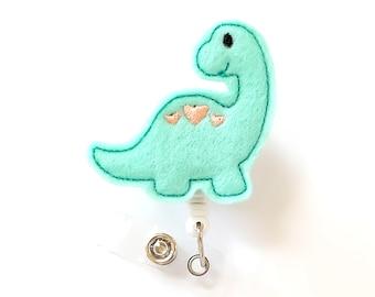 Dinosaur - Felt Badge Holder - Cute Badge Reels - Retractable ID Badge Clips - Pediatric Nurse Badge Pulls - Nurse Gifts - BadgeBlooms
