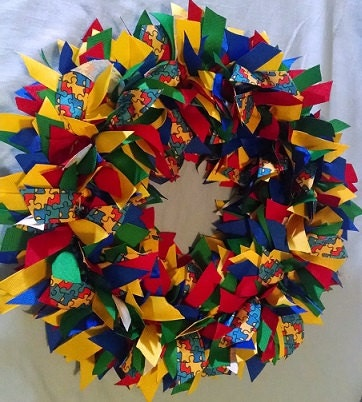 "AUTISM AWARENESS 16"" Ribbon Wreath Custom Made For Each Individual"