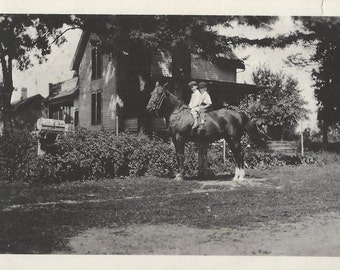 Our Favorite Fun - Antique 1910s Brothers on Horse Silver Gelatin Photograph
