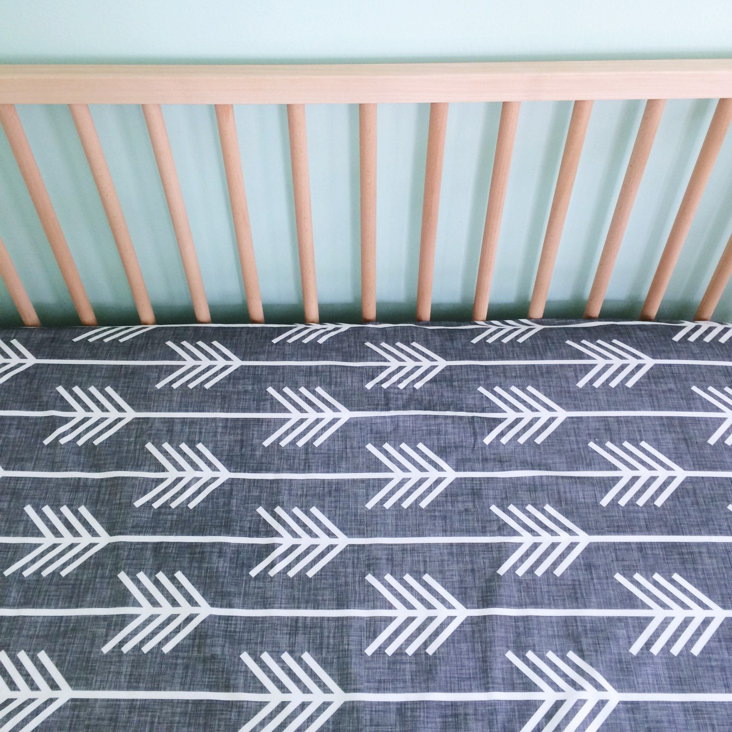 crib sheet charcoal arrows fitted crib sheet baby by. Black Bedroom Furniture Sets. Home Design Ideas