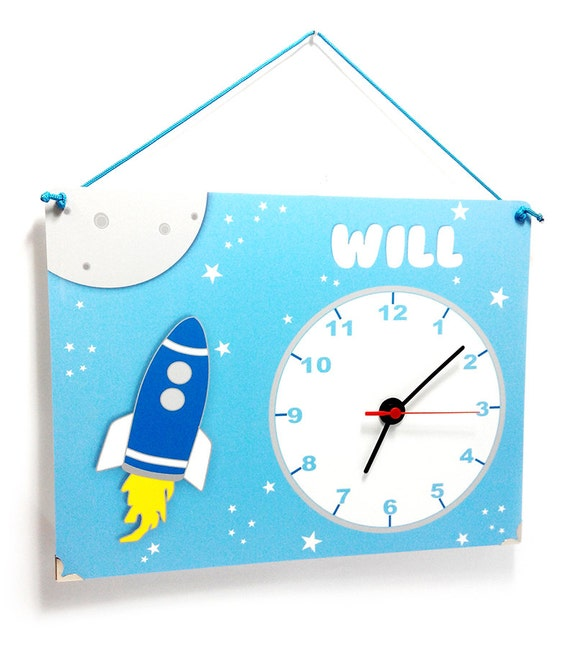Personalized Boys Bedroom Wall Clock Rocket Space Themed In