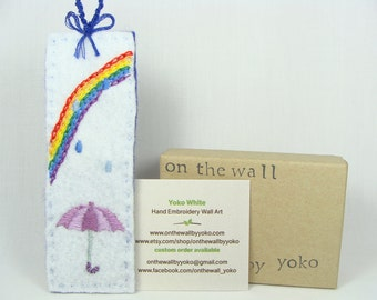 Hand Embroidered Bookmark / Ornament, custom work available - Rainbow, umbrella, rain, kawaii, book lovers, pick your own color available