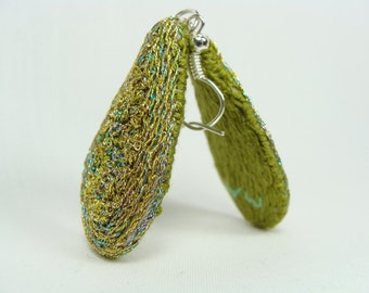 Hand Embroidered Earrings - Simple and Elegant Green, Gold, Raindrop Earrings
