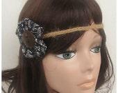 Black and White Gypsy Headband, Boho Headband, Flower Child Headband, hemp headband, Hair Accessories, Hippie Headband, Braided Headband