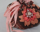 Limited Edition Placenta Bag - Brown and Peach Lotus Flower