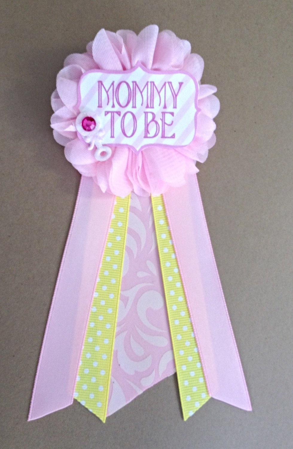 pink and yellow baby shower mommy to be flower ribbon pin