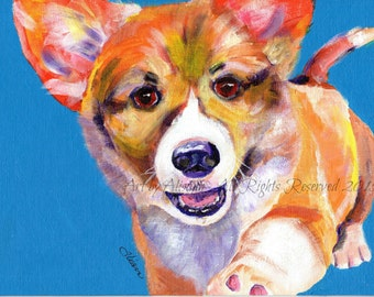 Corgi Puppy with Paw -Limited Edition Print- Art Print from original art - Multi-colored with Blue Background - CORGI