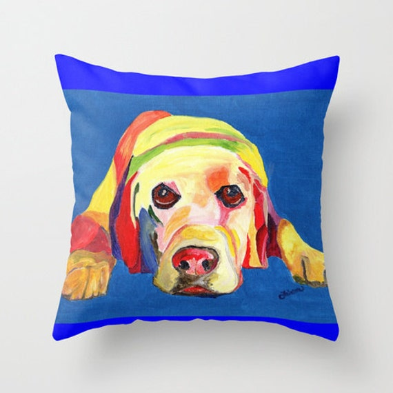 Yellow Lab Throw Pillows : Yellow Labrador Throw Pillow Cover made from by AbeesArtStudio