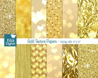 Gold Texture Digital Papers, Gold Foil Digital Papers - card design, invitations, background - INSTANT DOWNLOAD
