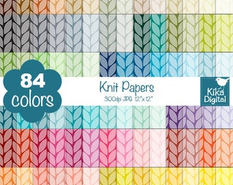 Knit Digital Papers - Rainbow Knitted Scrapbook Papers - Huge Paper Pack - INSTANT Download