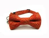 Cat Bow Tie Collar, GOLD Metallic in CRIMSON, Cat Collar Bow Tie, Handmade Cat Collar