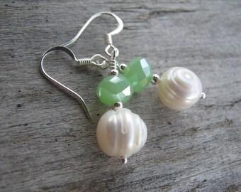 Freshwater Pearl Earrings, Sterling Silver, Seafoam Green, Fire Polished Czech Crystal Earrings, June Birthstone Earrings, READY To SHIP