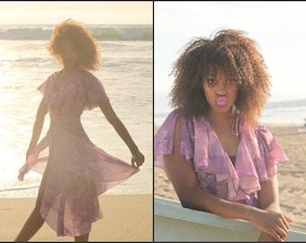 VTG Vintage 70s 80s Flutter Floral Wrap Dress XS S M Party Dress