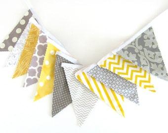 Bunting Banner, Fabric Flags Wedding Bunting Nursery Decor, Grey Yellow, Baby Shower Birthday Decoration Chevron, Dots, Geometric