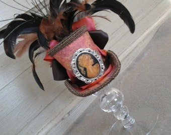 OOAK Fun and funky mini top hat fascinater Victorian steampunk blend real vintage cameo