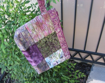 Batik Quilted Bag With Wrist Strap