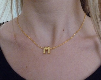 Tiny INITIAL necklace MONOGRAM necklace Gold plated chain LETTER necklace Personalized necklace Gift for her