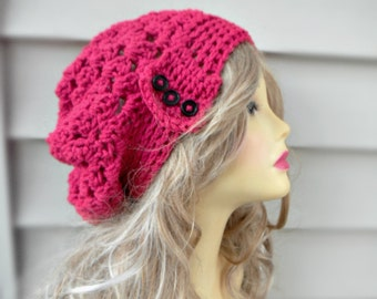Pink Slouchy Hat, Crochet Slouchy Beanie Hat, Chunky Slouchy Hat, Beanie Hat, Winter Accessories, Choose Your Color