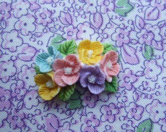 Pretty floral lucite hand painted brooch
